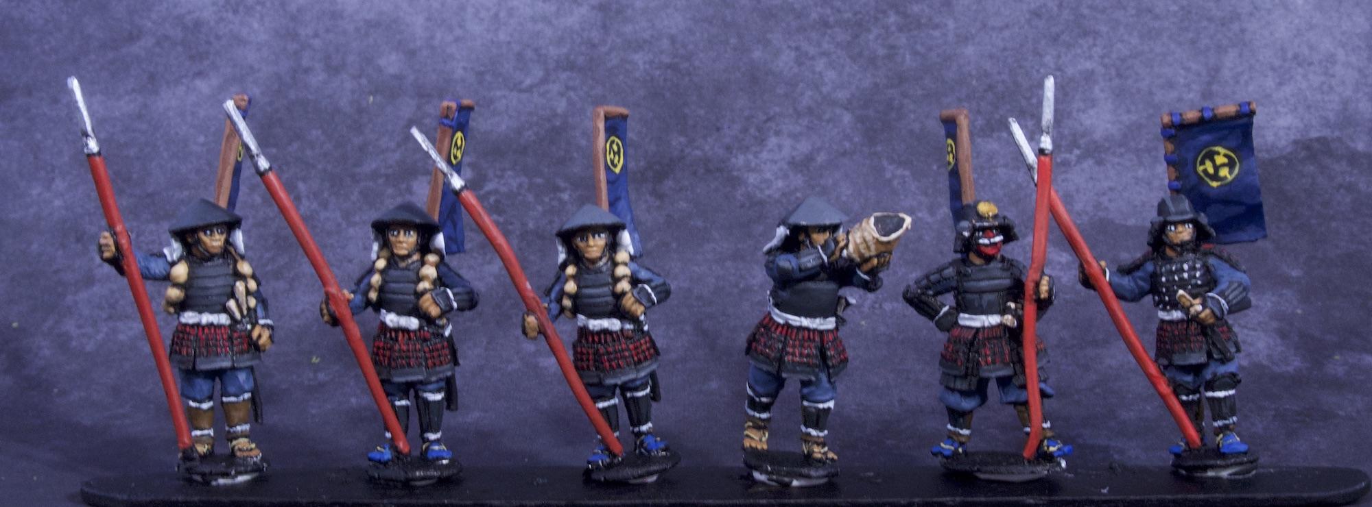Painted Samurai and Ashigaru Miniatures