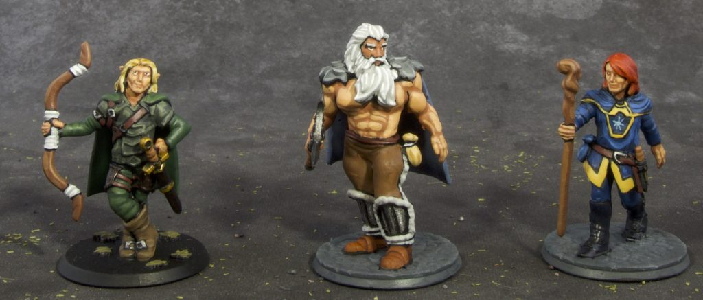 28mm Fantasy Barbarian, archer and wizard (front)